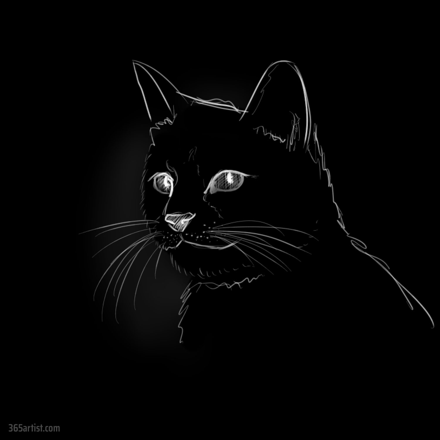 drawing of a black cat