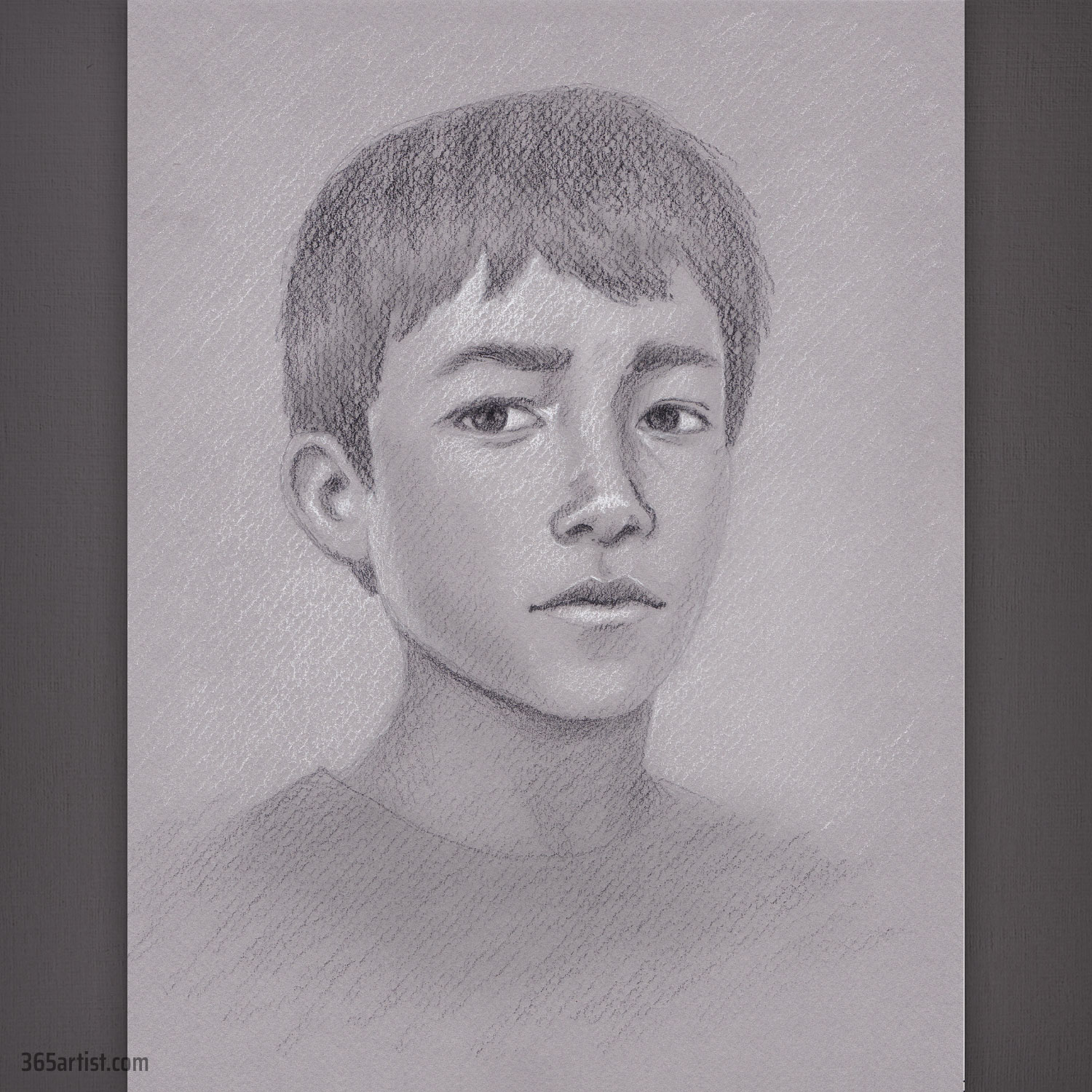 charcoal portrait drawing of boy