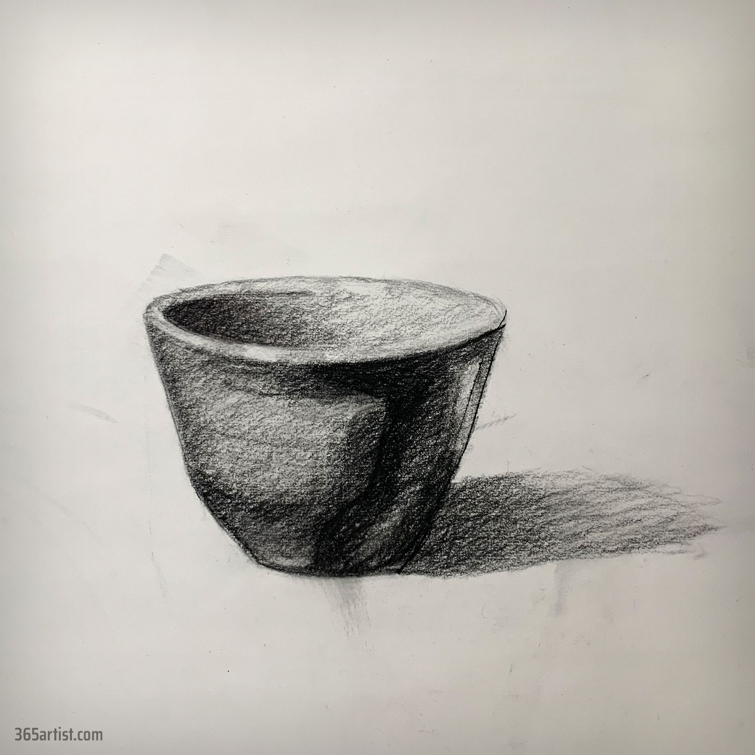 charcoal drawing of a bowl