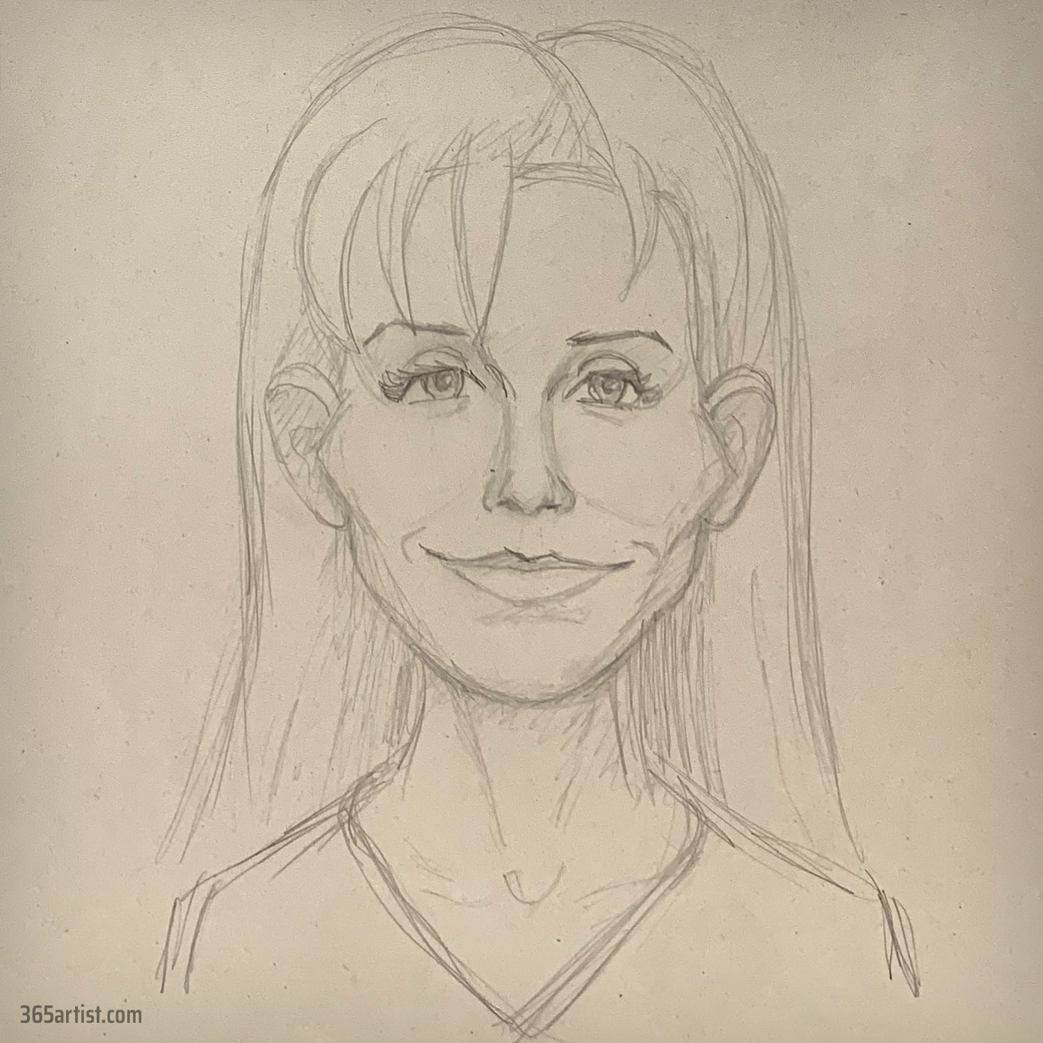 female caricature portrait drawing