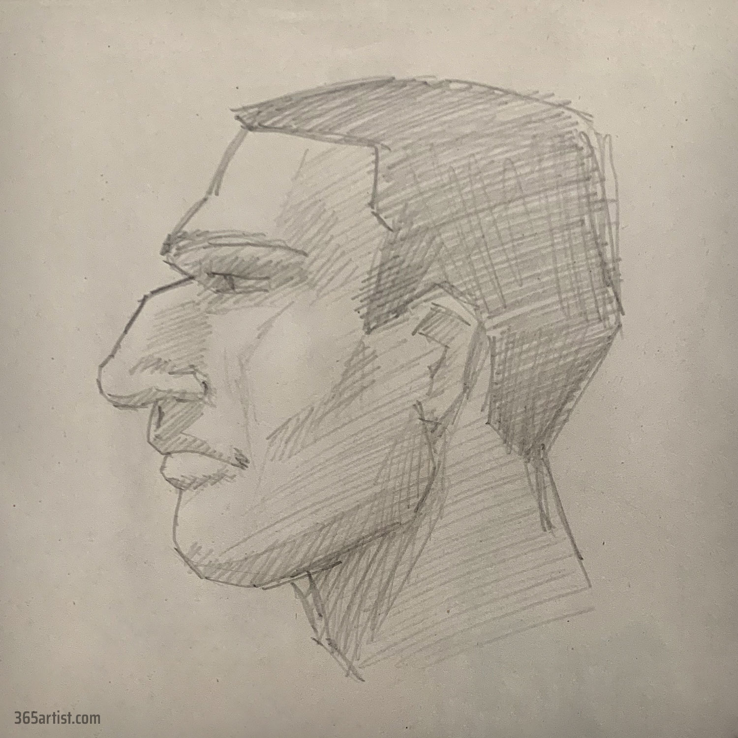 portrait drawing of a gladiator