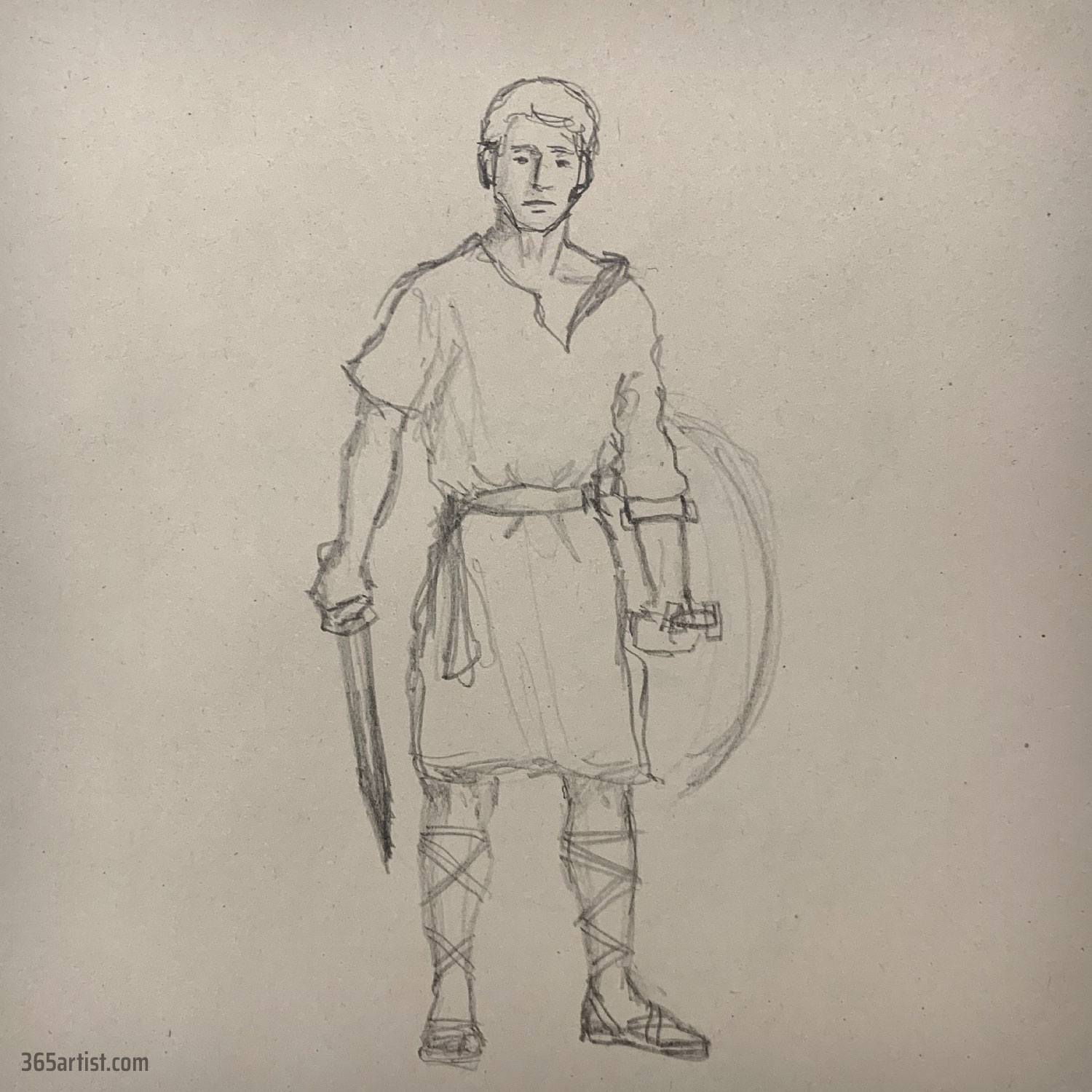 drawing of an ancient greek solider