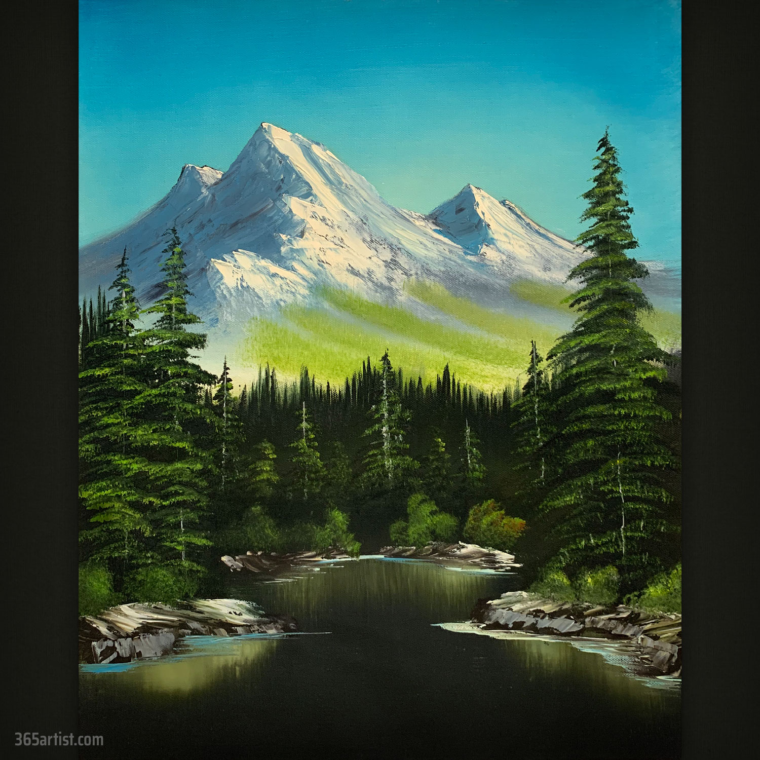 mountain forest landscape painting