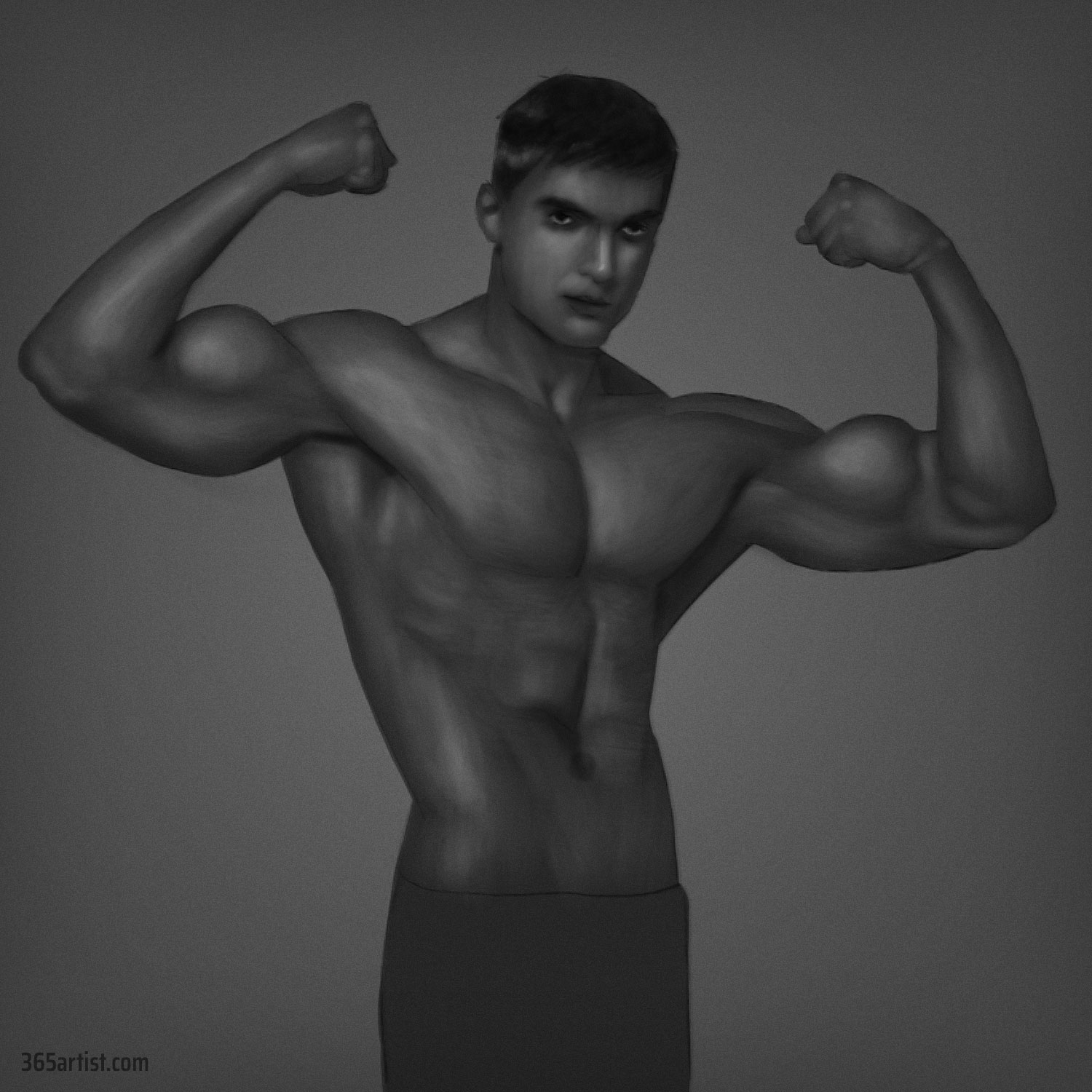 digital painting muscle shading