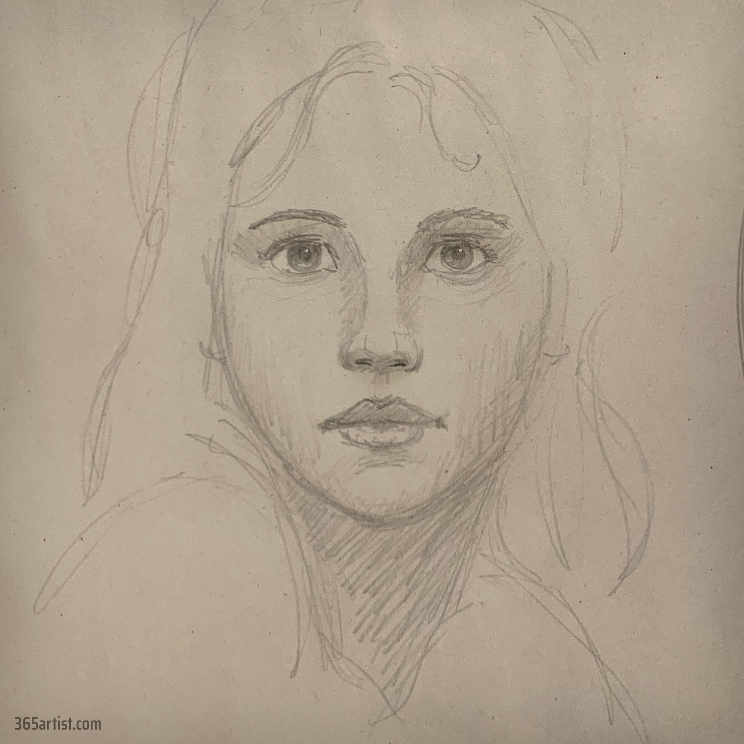 pencil drawing of a solemn woman