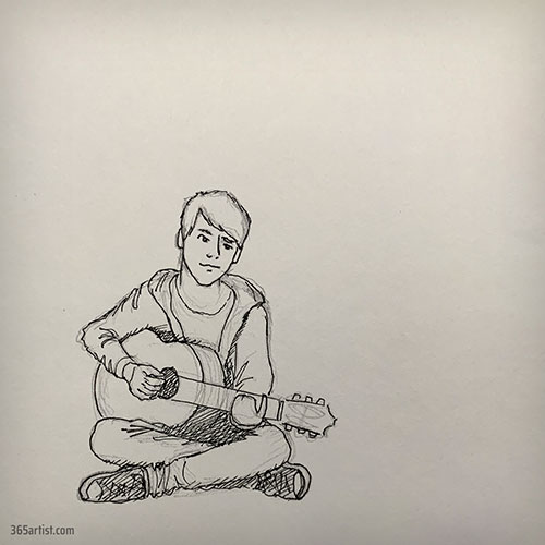 drawing of an acoustic guitar player
