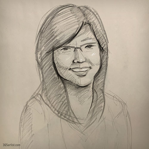 sketch of an asian woman