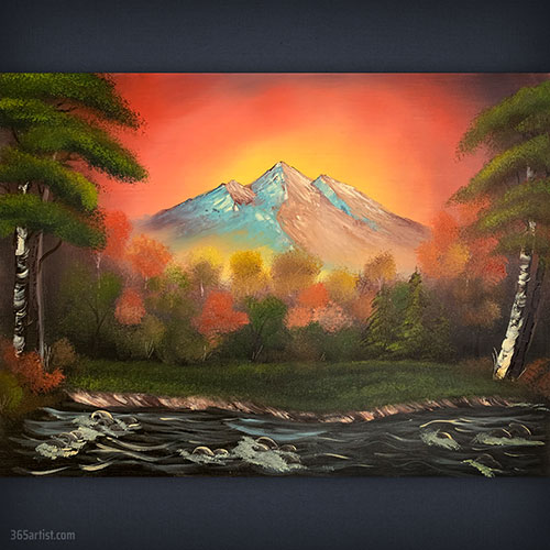 autumn mountain painting