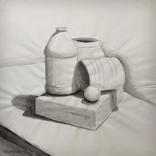 black and white watercolor still life painting