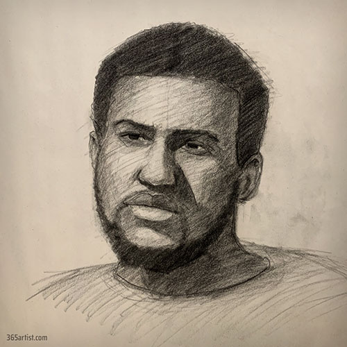 portrait drawing of black male