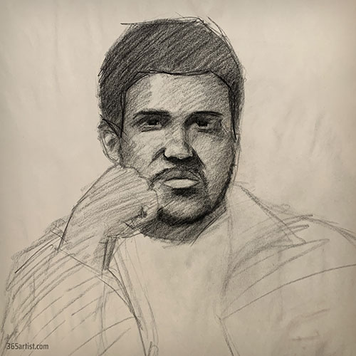 charcoal portrait of a black man