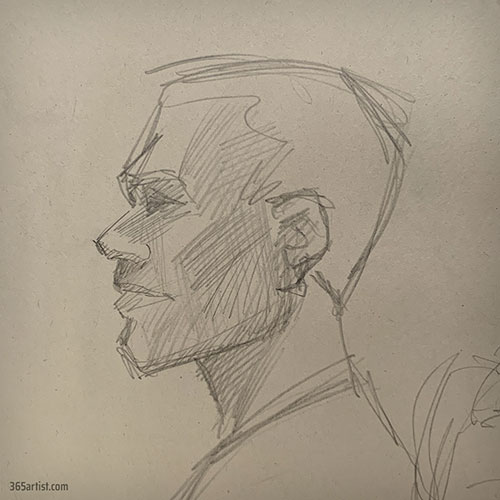 profile drawing of a black man