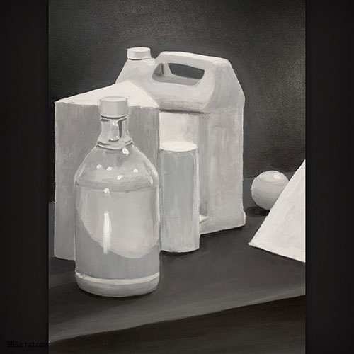 black and white still life painting