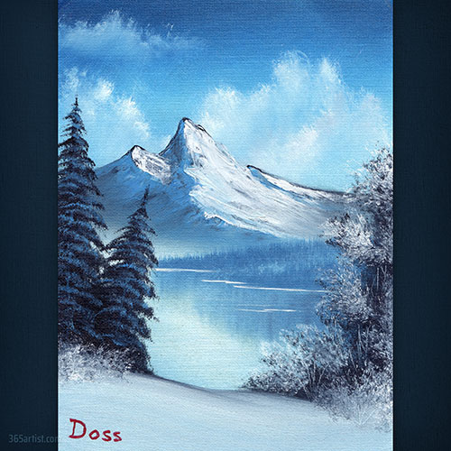 Bob Ross snowy mountain painting