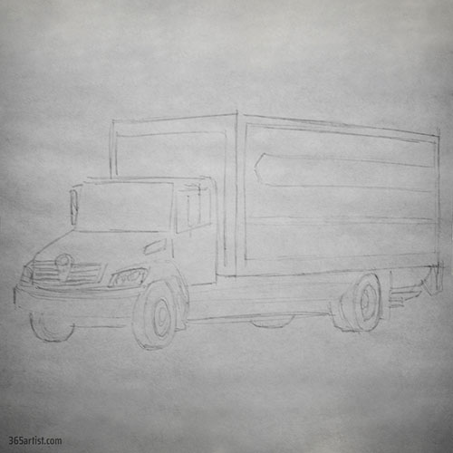 drawing of a moving truck