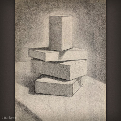 charcoal drawing of boxes