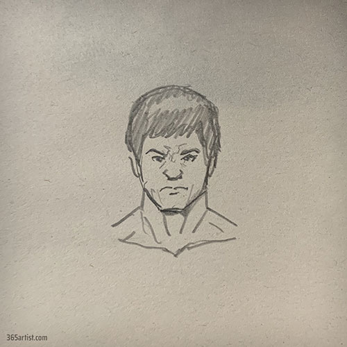 drawing of Bruce Lee