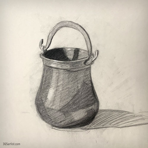 charcoal drawing of a metal bucket