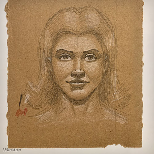 portrait drawing on cardboard