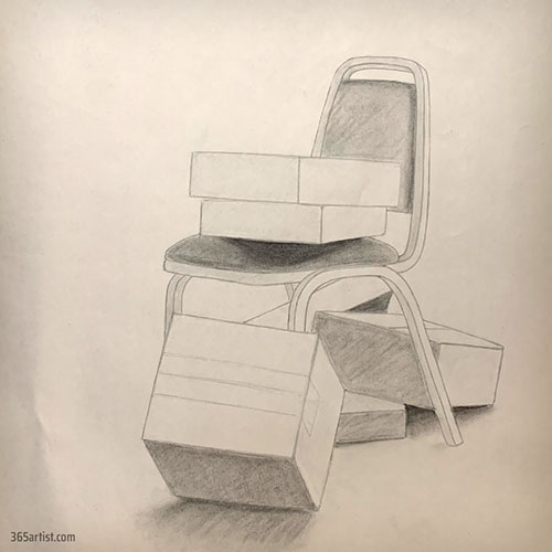 drawing of chair and boxes