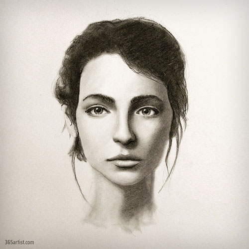 charcoal lady portrait drawing