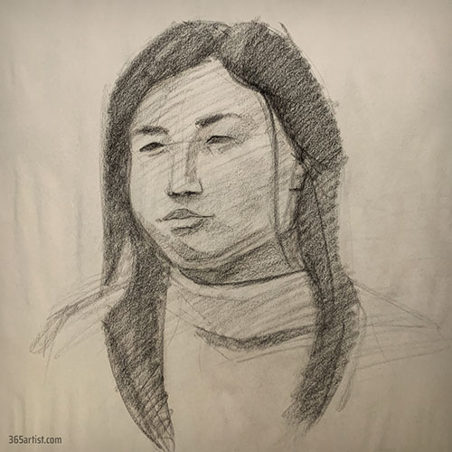 chinese woman charcoal drawing
