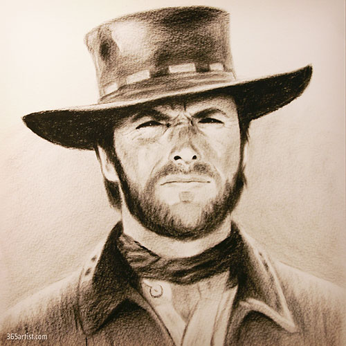 Clint Eastwood dry brush painting