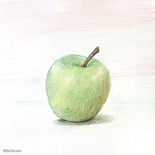 colored pencil drawing of an apple