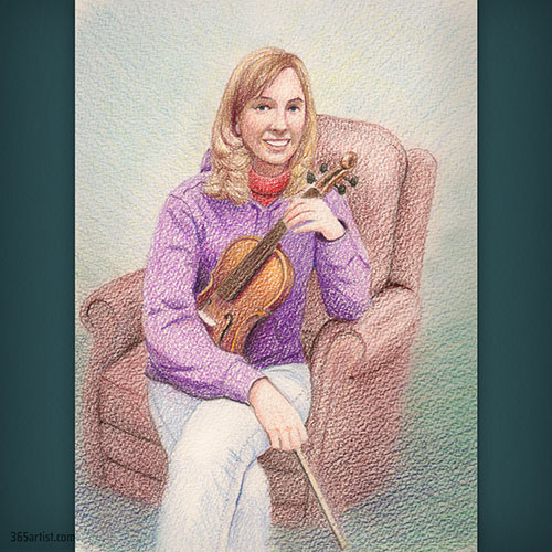 colored pencil drawing of violin player