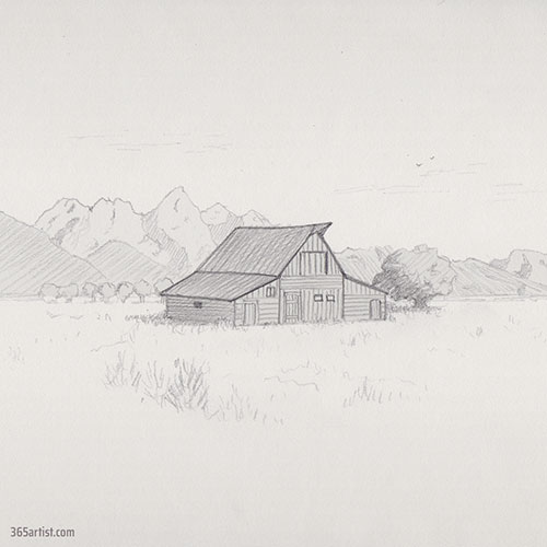 country landscape drawing
