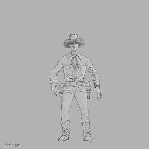 drawing of a cowboy