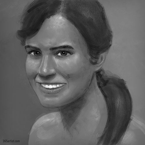 digital chalk portrait painting