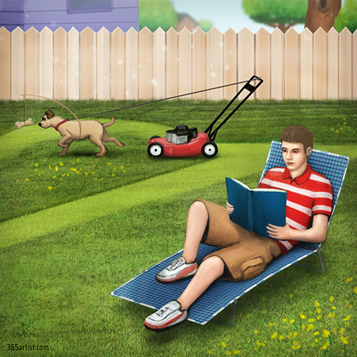 illustration of dog mowing the lawn