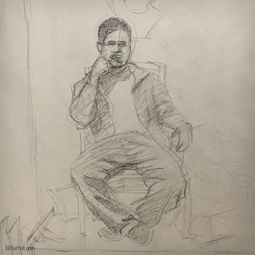 drawing of a sitting man