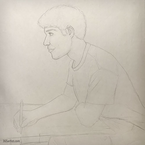 drawing of a student