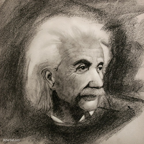 charcoal portrait drawing ofo Albert Einstein