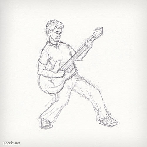 drawing of electric guitar player