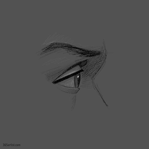 eye profile drawing practice