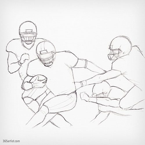 drawing of football players