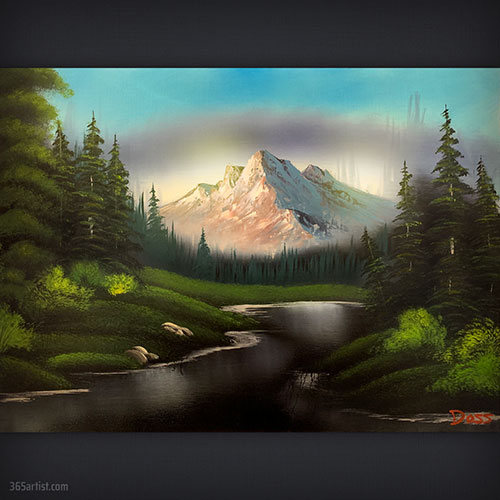 forest mountain painting