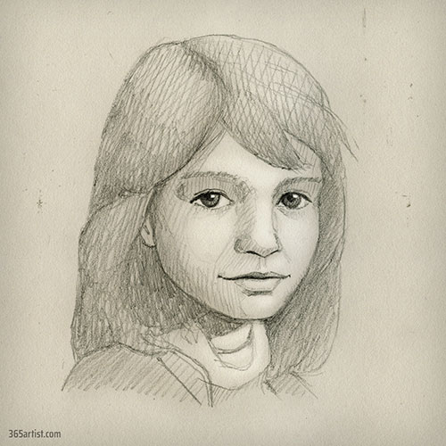 pencil portrait drawing of a girld