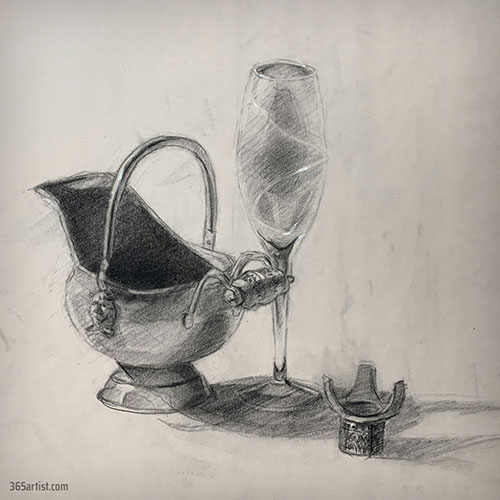 glass still life drawing