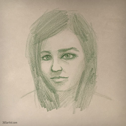 portrait drawing with green pencil