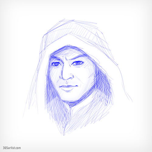 drawing of a hooded man
