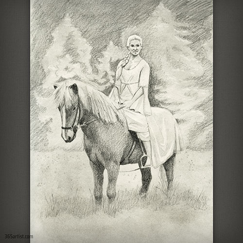 drawing of a princess on a horse