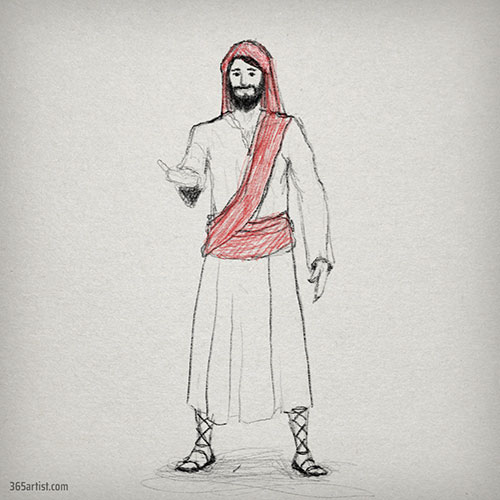 Jesus character drawing