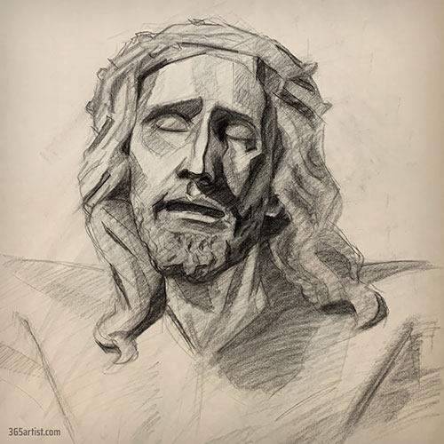 charcoal drawing of Jesus statue