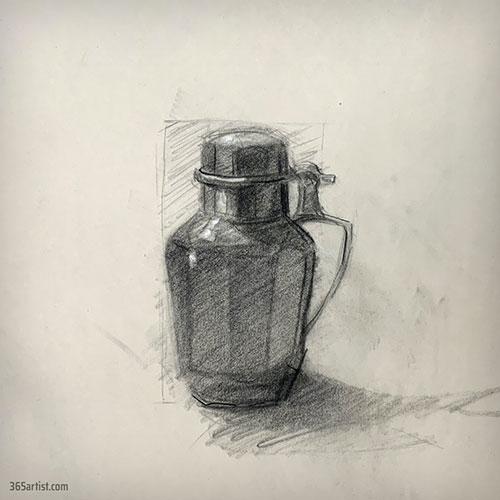 charcoal drawing of a water jug