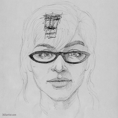 drawing of a lady with glasses