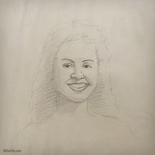 portrait drawing of latina lady